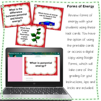 Forms of Energy Google Classroom and Printable Task Card Review Activity