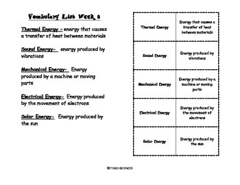 Forms of Energy Vocab Pack