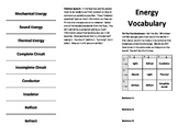 Forms of Energy Vocabulary Activities