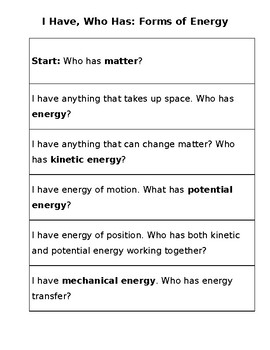 Forms of Energy Vocabulary: I Have, Who Has