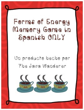 Forms of Energy Vocabulary Memory Game in Spanish