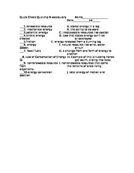 Forms of Energy Vocabulary Quiz