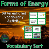 Forms of Energy Vocabulary Sort