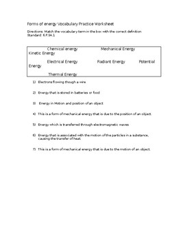Forms of Energy Vocabulary Worksheet by TheTeacherView | TpT