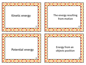 Forms of Energy Vocabulary  Match Up with QR Codes