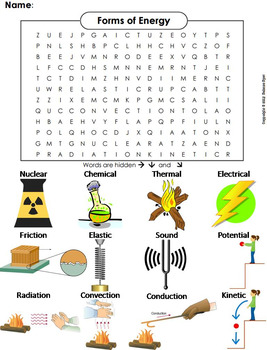 Forms of Energy Worksheet/ Word Search by Science Spot | TpT