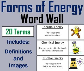 Forms of Energy Word Wall Cards