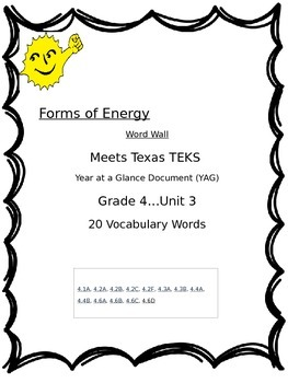 Forms of Energy Word Wall:  Grade 4, Unit 3  TEXAS TEKS RESOURCE SYSTEM