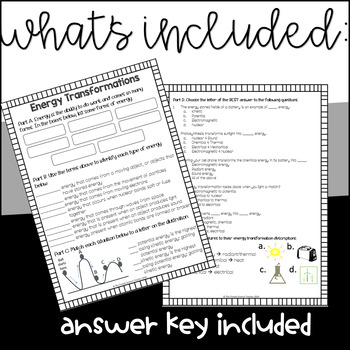 Forms of Energy Worksheet by The Trendy Science Teacher | TpT