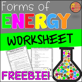 Forms of Energy Worksheet