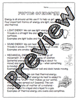 Forms of Energy Worksheet by For the Love of Birds | TpT