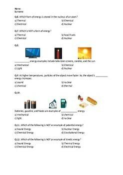 Forms of Energy - Worksheet
