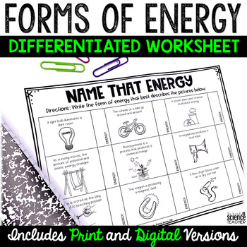 Forms of Energy Worksheet (Differentiated)
