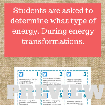 Forms of Energy Worksheet.  Energy Escape Room. Distance Learning Compatible.
