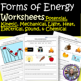 Forms of Energy Worksheets READY TO PRINT