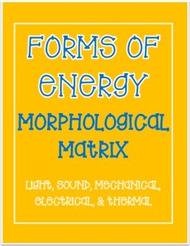 Forms of Energy Writing Activity - Light, Sound, Mechanical, Electrical, Thermal