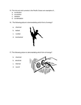 Forms of Energy and Energy Transfer Quiz