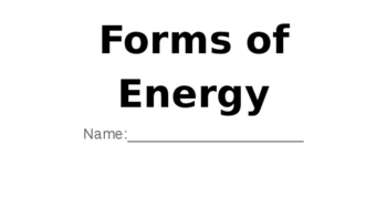Forms of Energy formative assessment