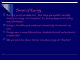 Forms of Energy ppt