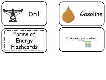 Forms of Energy printable Flash Cards. Preschool Science flashcards.