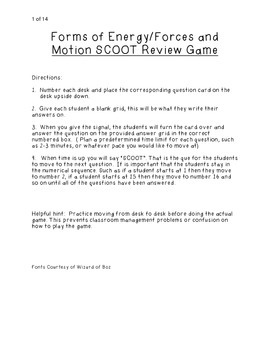 Forms of Energy/Forces and Motion SCOOT Review game