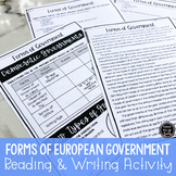Forms of European Government Reading & Writing Activity (S