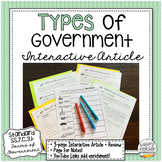 Types of Government | Interactive Article for Civics & Ame