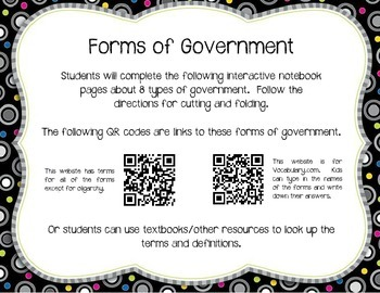 Forms of Government Interactive Notebook Activity