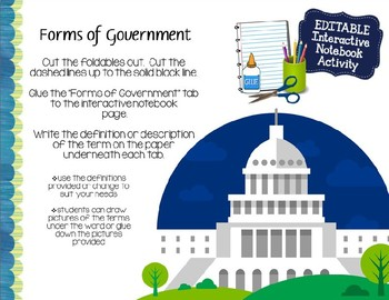 Forms of Government Interactive Notebook Activity #2