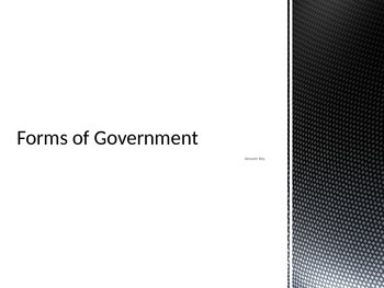 Forms of Government Key