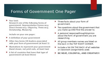 Forms of Government One Pager Summary