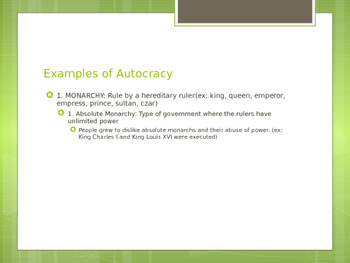 Forms of Government Powerpoint Presentation