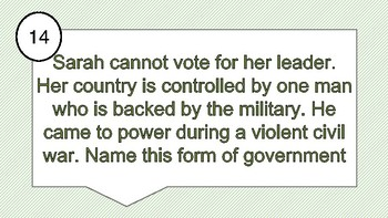Forms of Government Task Cards