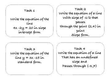 Forms of Lines Task Cards