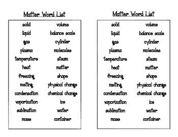 Forms of Matter Bingo