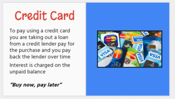 forms of payment google slides and chart personal finance unit 2