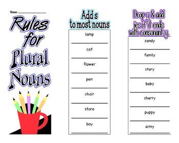 Fill-In Plural Nouns Brochure