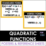 Forms of Quadratic Functions - Posters & Reference Sheet