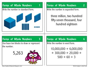 Forms of Whole Numbers {Math Task Cards}