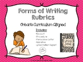 Forms of Writing Rubrics Package (Ontario Curriculum Aligned)