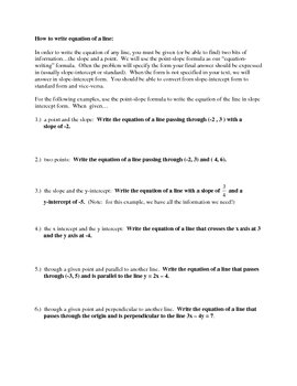 Forms of linear equations & Writing equations of lines