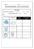 Forms of water worksheet:  Solid, liquid and gas