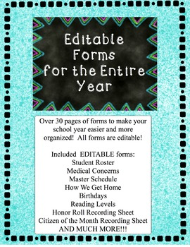 EDITABLE Forms for the Entire Year {Less Color}