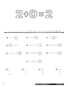 Formula 1 Math Powerpac A Lesson 2, Addition Facts through 20