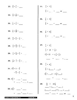 Formula 1 Math Powerpac D Lesson 1, Multiplication of Fractions