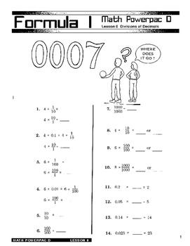 Formula 1 Math Powerpac D Lesson 6, Division and Decimals