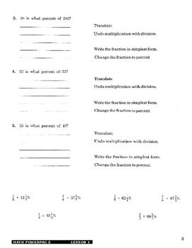 Formula 1 Math Powerpac E Lesson 5, Using Equations to Find Percent