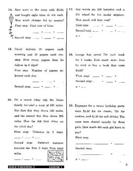 Formula 1 Math Powerpac F Lesson 1, Writing Math Sentences