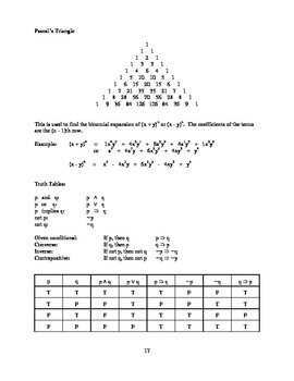 Formula Booklet for High School and College Mathematics