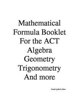 Formula Booklet for High School and College Mathematics Title index pg 21 & 22